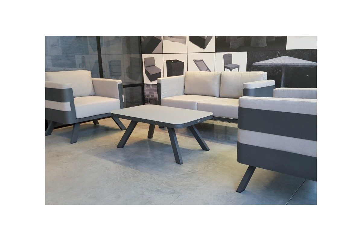 salon de jardin alu avec coussins et table fere la galerie du teck. Black Bedroom Furniture Sets. Home Design Ideas