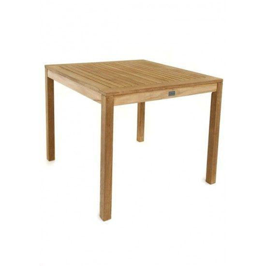 Table de jardin carrée en teck massif pour le repas au jardin, Calida