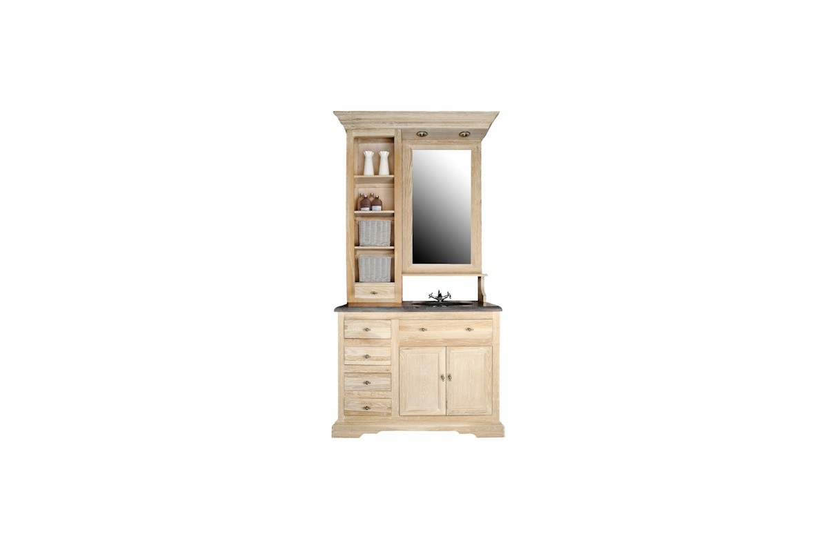 meuble de toilette 111 cm avec plan pierre vasque miroir. Black Bedroom Furniture Sets. Home Design Ideas