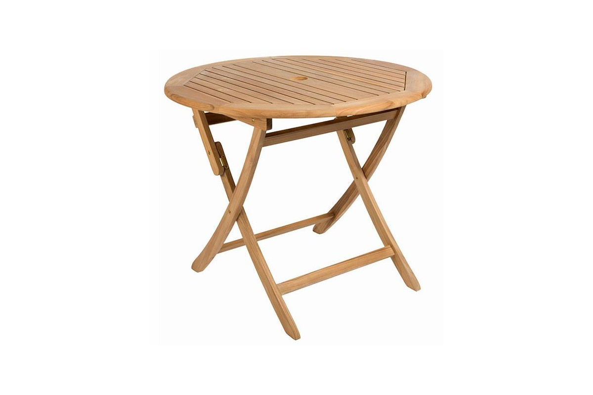 Table ronde 90 cm pliante en teck massif ora la galerie for Bonbon la table ronde