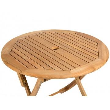 Table ronde 90 cm pliante en teck massif, modèle Ora