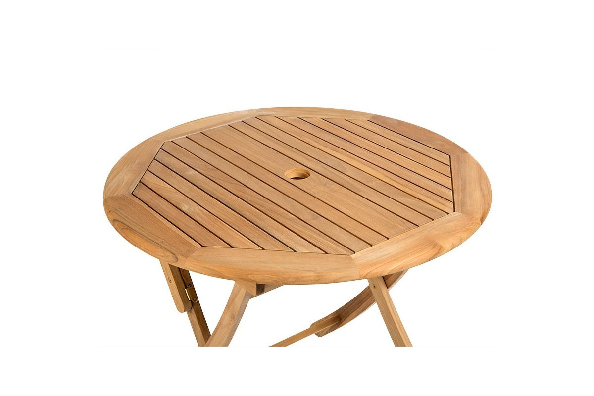 Table ronde 90 cm pliante en teck massif ora la galerie - Table pliante teck ...