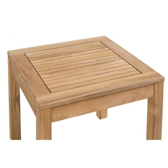 Petite table basse carrée 45 cm en teck massif, modèle Sevilla