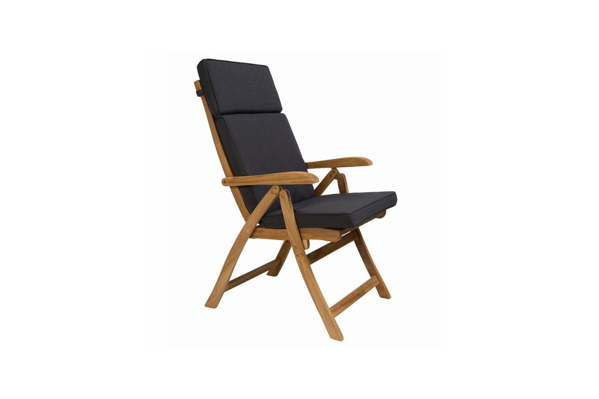Fauteuil pliant galb teck massif dossier inclinable for Chaise haute dossier inclinable
