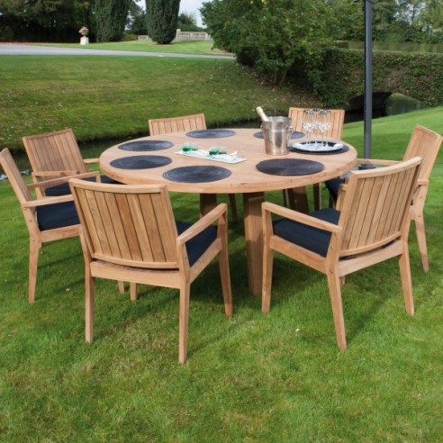 table ronde de jardin en vieux teck massif d 165 cm 8 10 couverts oakland la galerie du teck. Black Bedroom Furniture Sets. Home Design Ideas