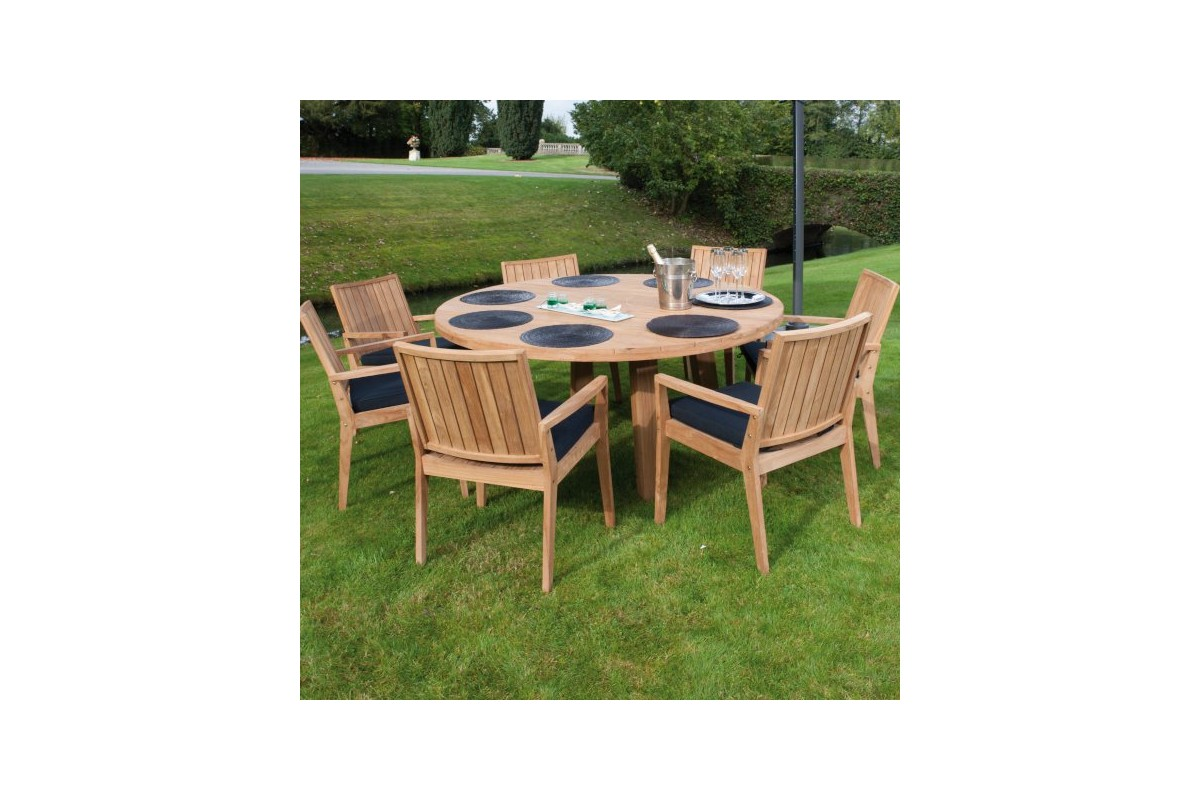Table ronde de jardin table with table ronde de jardin - Salon de jardin en teck avec table ronde ...