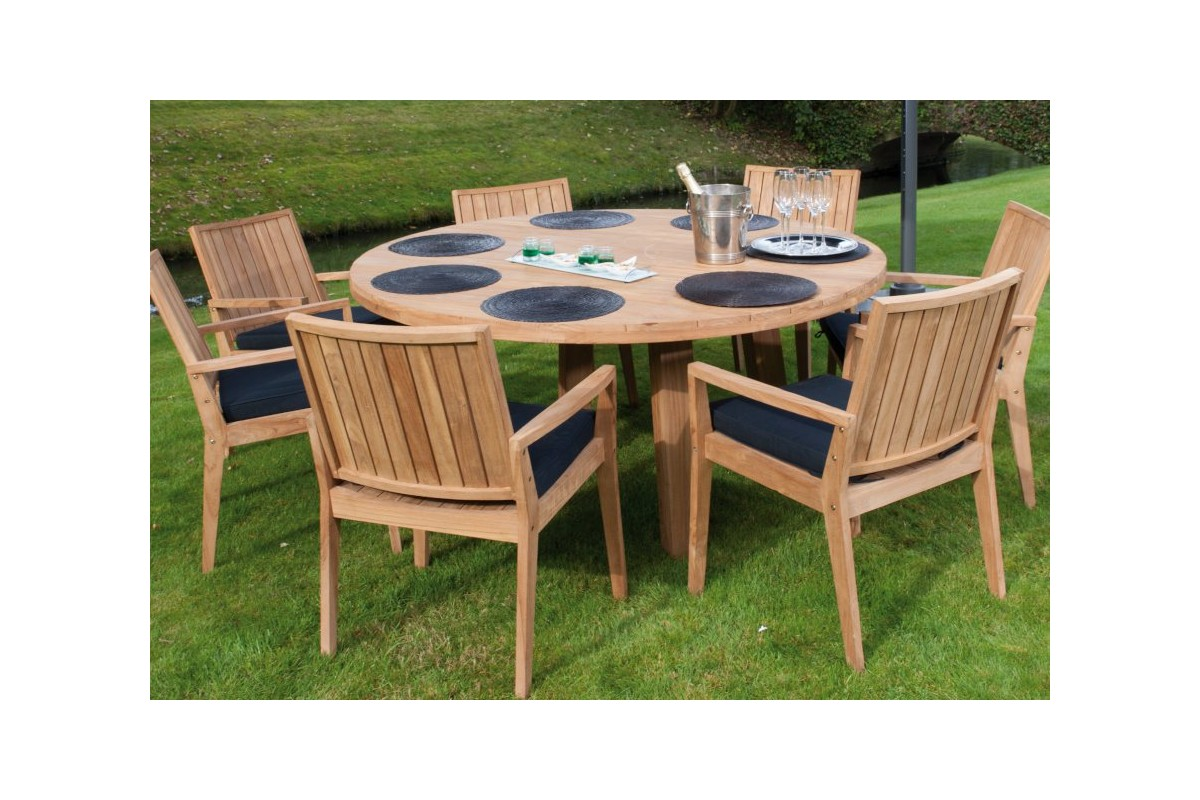 Table ronde de jardin en vieux teck massif d 165 cm 8 for La table de 8
