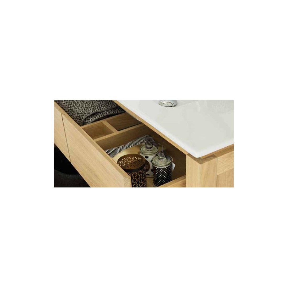 Meuble en chêne 80 ou 100 cm avec un plan vasque, 2 tiroirs et une étagère, EASY