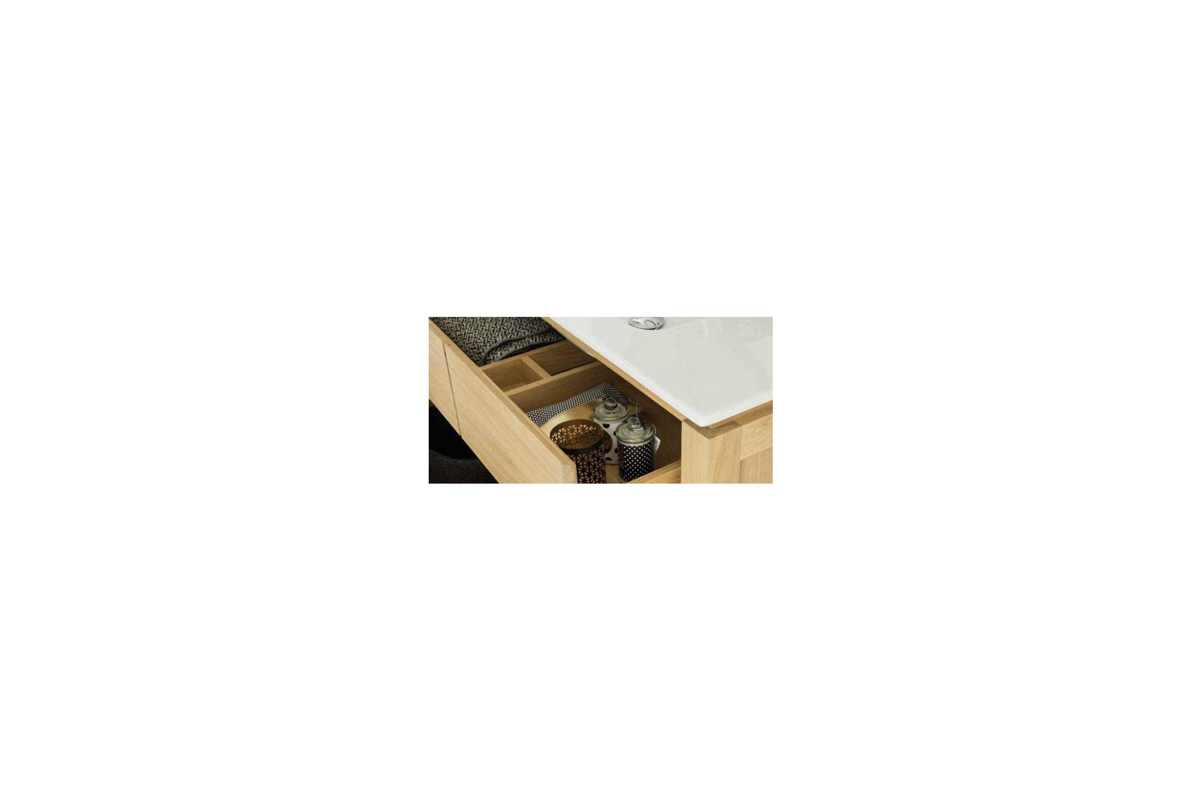 Meuble en chêne 80/100 cm avec un plan vasque, 2 tiroirs et 1 étagère, EASY