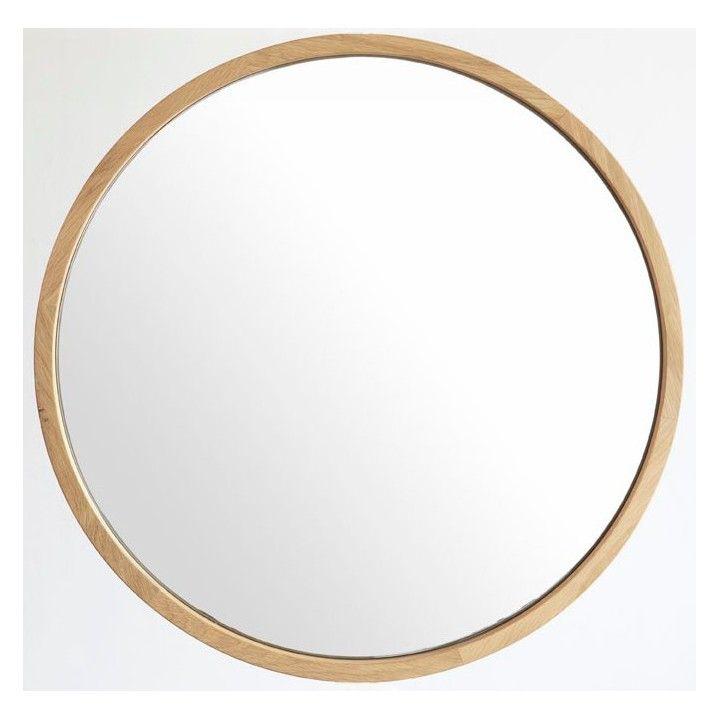 Miroir rond en chêne massif, diamètre 50 ou 80 cm