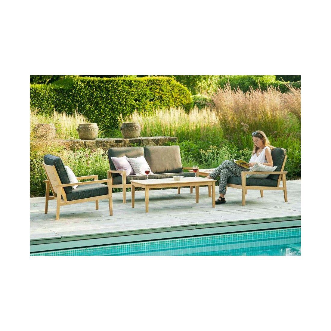 Canapé lounge pour salon de jardin en bois avec coussin gris foncé, haut de gamme