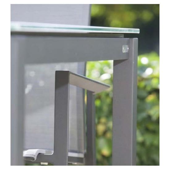 Table de jardin design 160 cm verre et aluminium, Grana