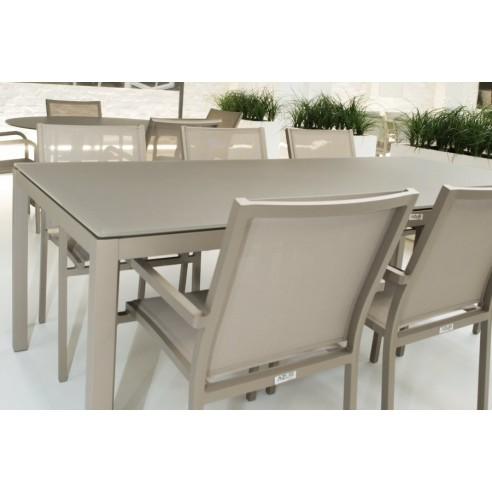 table de jardin design 160 cm verre et aluminium grana la galerie du teck. Black Bedroom Furniture Sets. Home Design Ideas