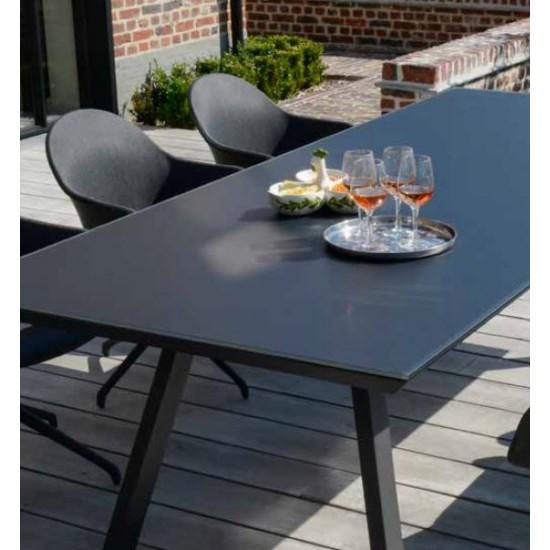 Table de jardin en verre, alu et plateau en biseau, VERS