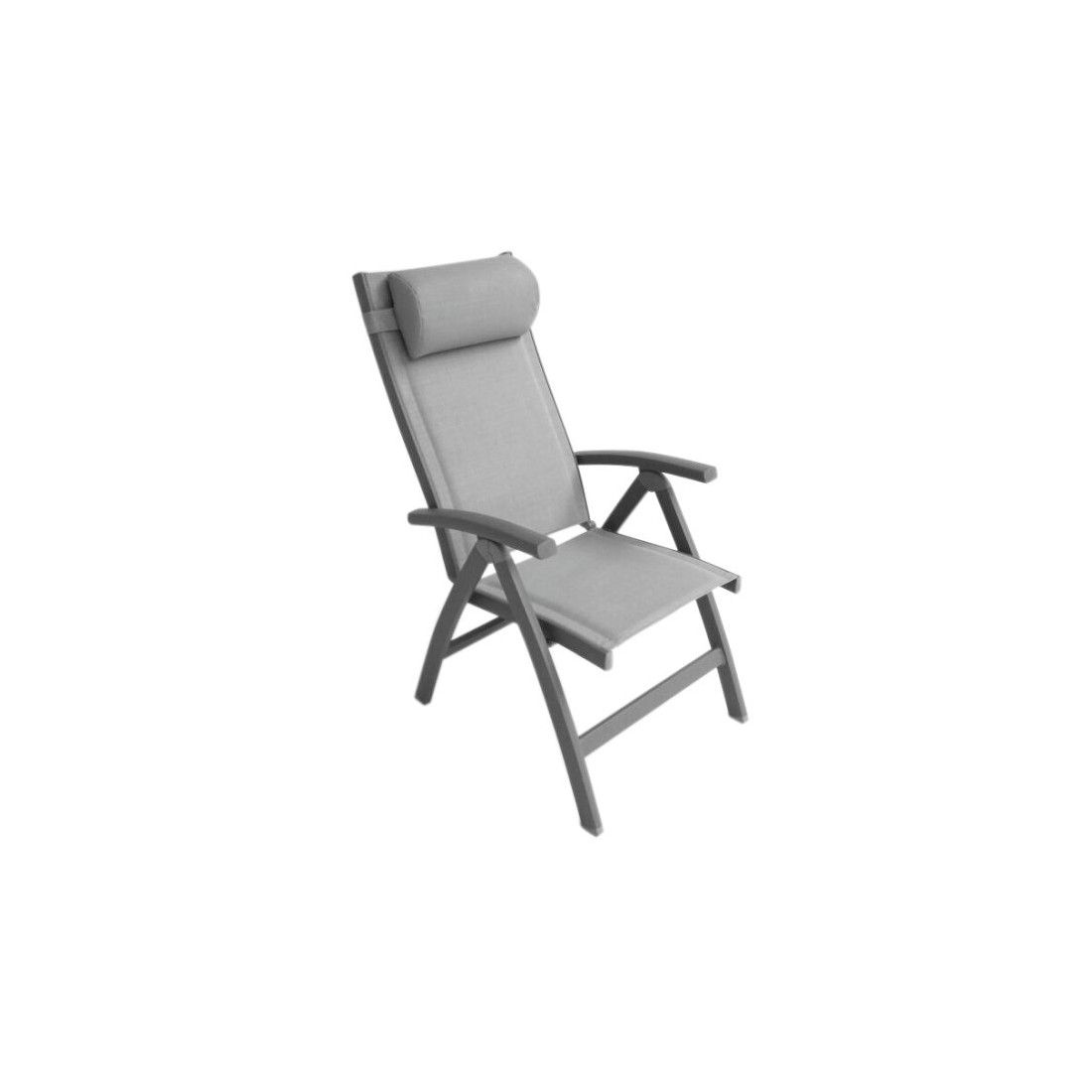Fauteuil réglable et repose pied en aluminium et textylène