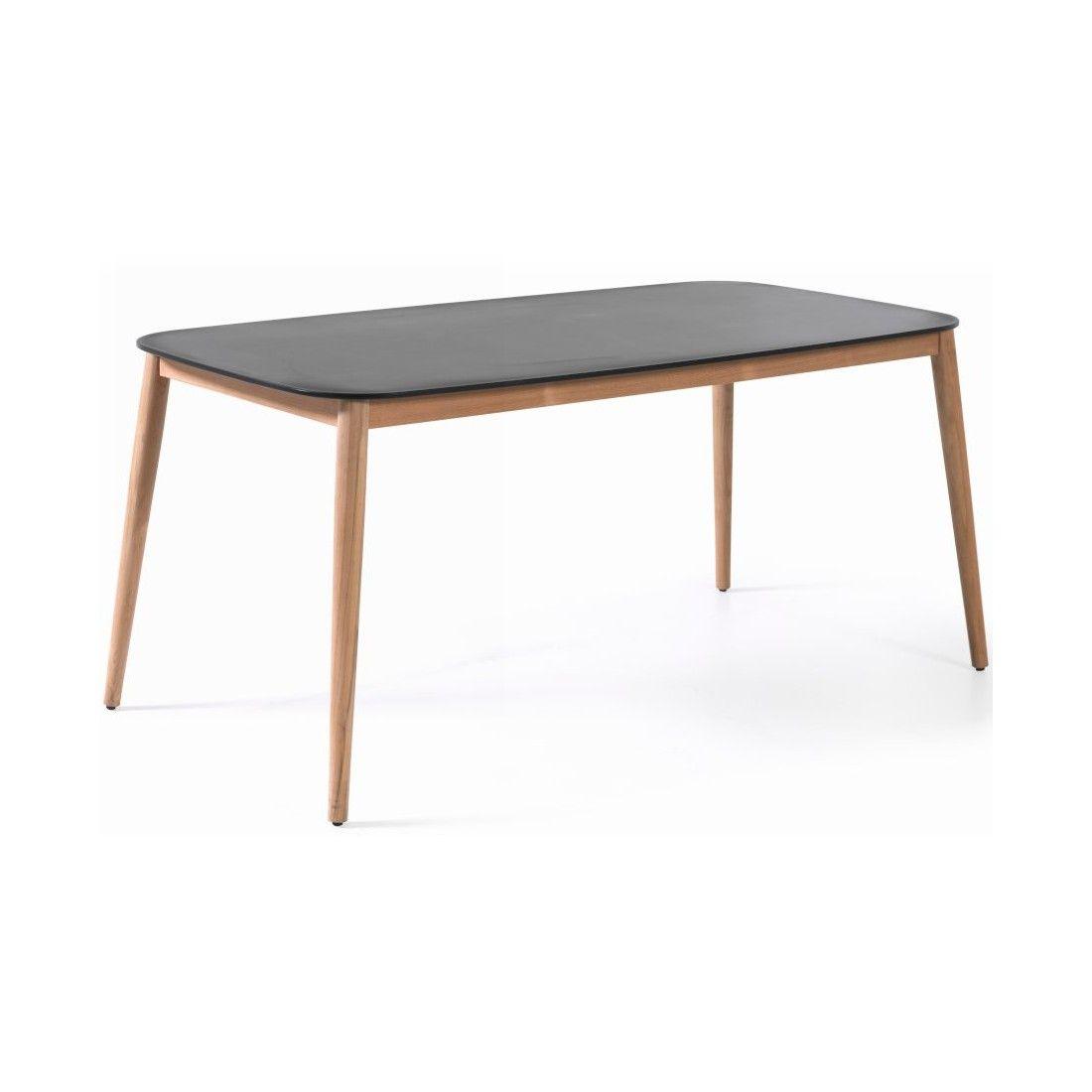 Table de jardin 213x100 cm avec plateau en Duranite® et pieds en teck
