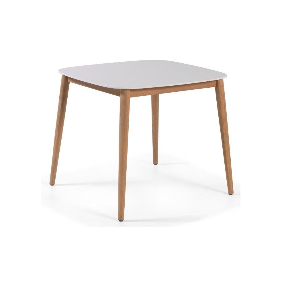 Table de jardin 90x90 cm avec plateau en Duranite® et pieds en teck