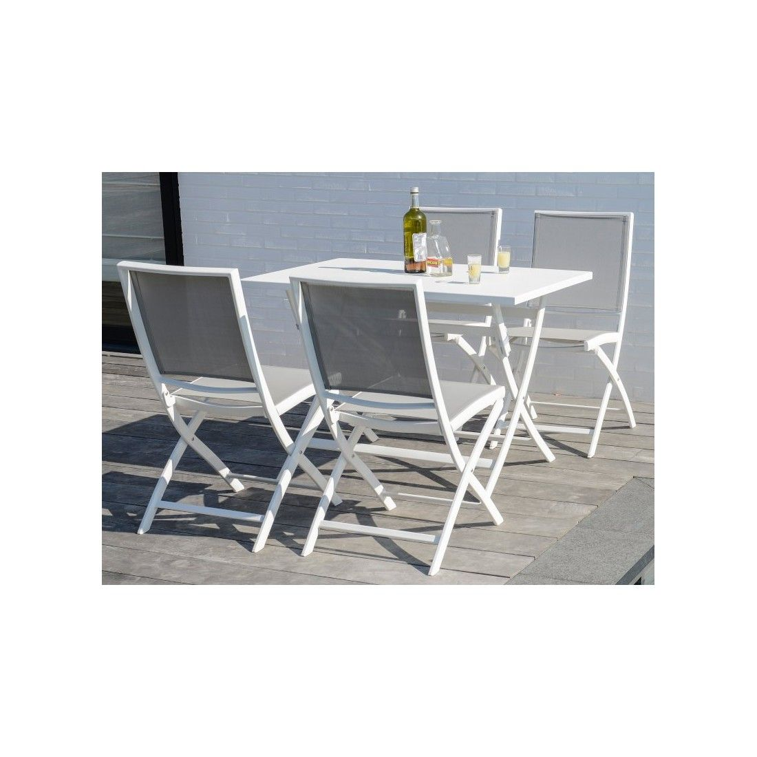 Table pliante en alu blanc ou charcoal