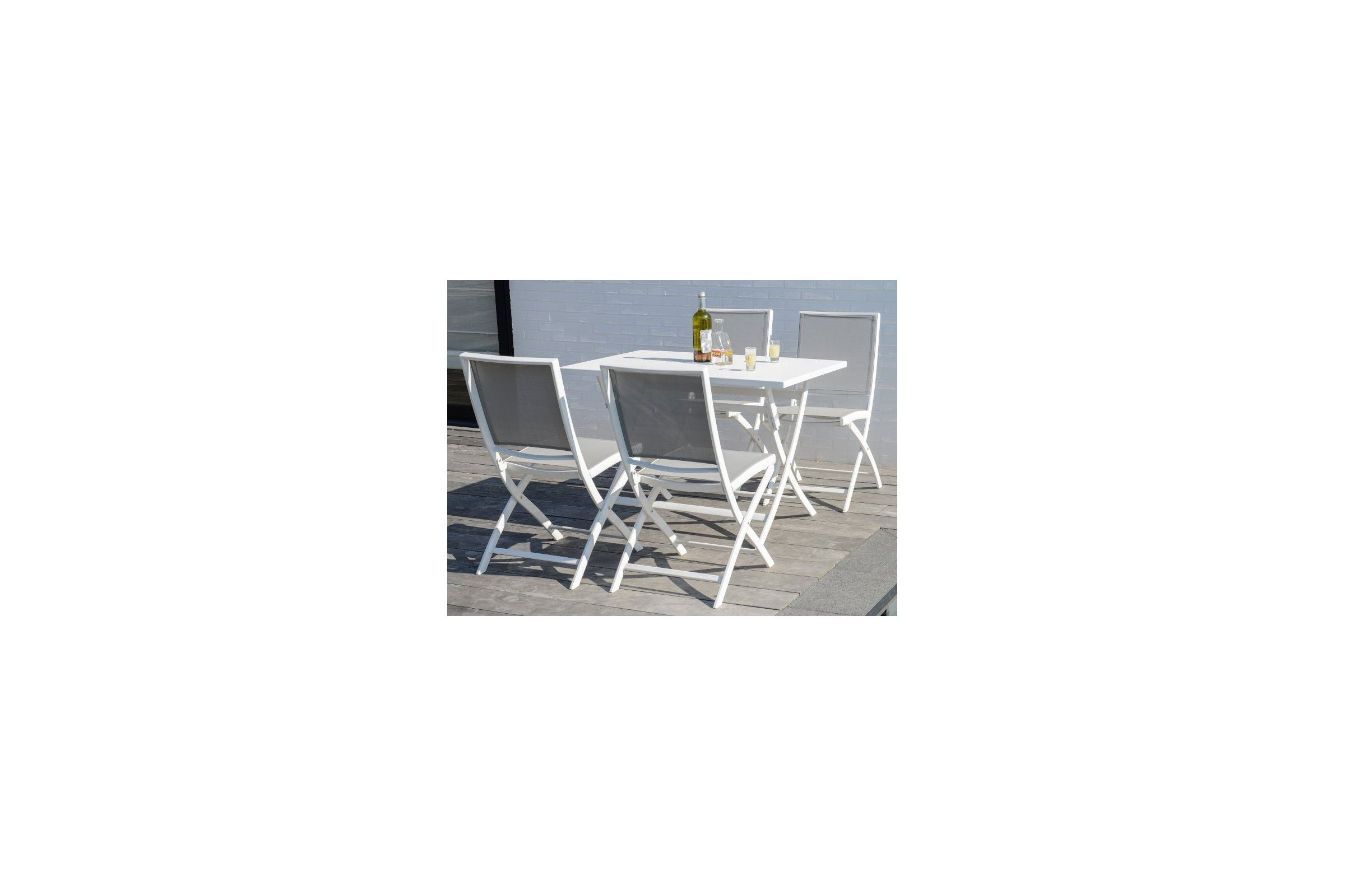 Table de jardin pliante en alu blanc ou charcoal