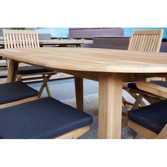 Table ovale en teck massif, 200 cm