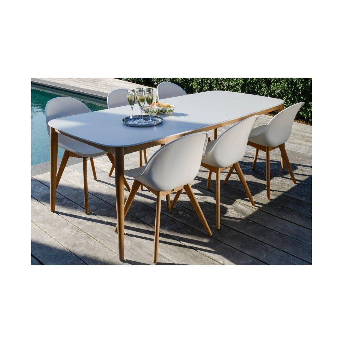 Table de jardin 213x100 cm avec plateau en Duranite® et pieds en teck 213 cm