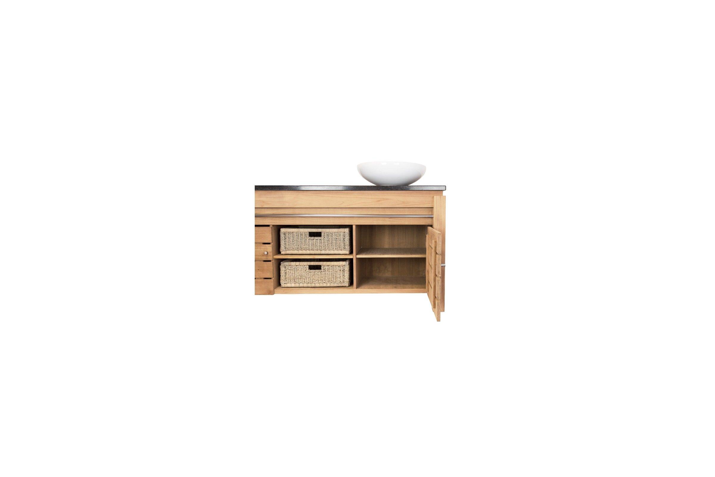 meuble sdb en teck massif 165 cm plan de toilette pierre ou bois. Black Bedroom Furniture Sets. Home Design Ideas