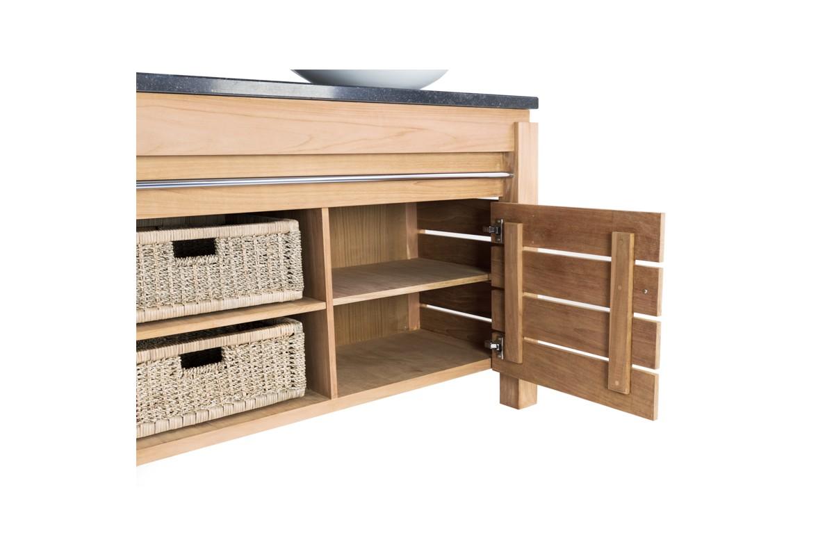 meuble 2 vasques en teck massif 165 cm avec plan de toilette en pierre ou en teck 2 portes. Black Bedroom Furniture Sets. Home Design Ideas