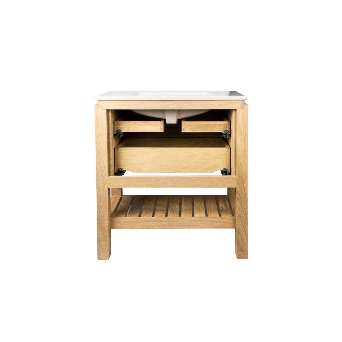 Meuble en chêne 80 cm ou 100 cm avec un plan vasque, 2 tiroirs et une étagère, EASY