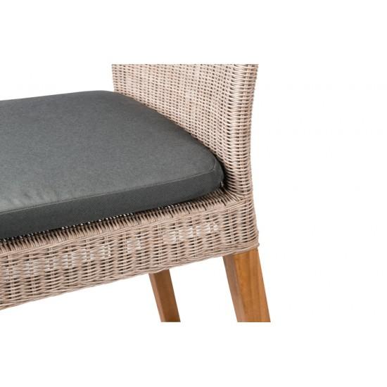 Chaise haute de bar en teck et résine tressée avec coussin, Cuba
