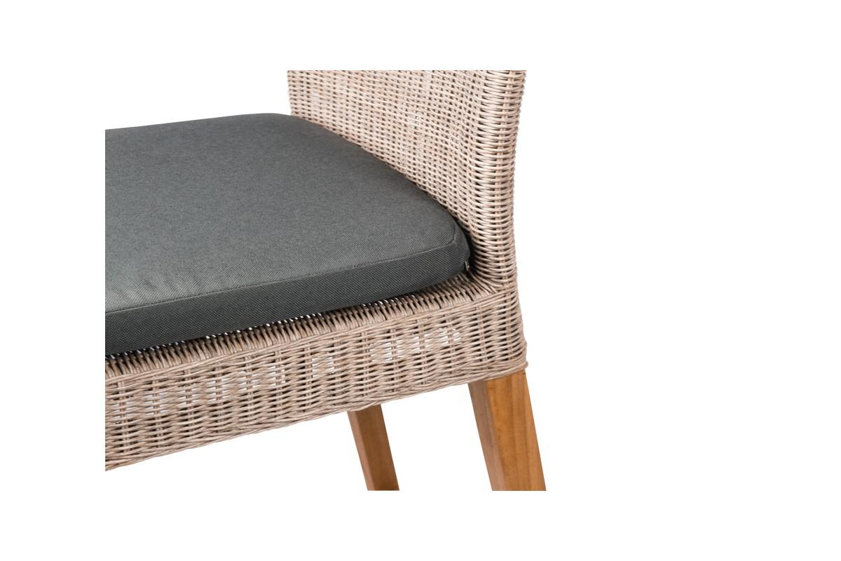 chaise haute de bar en teck et r sine tress e avec coussin cuba. Black Bedroom Furniture Sets. Home Design Ideas