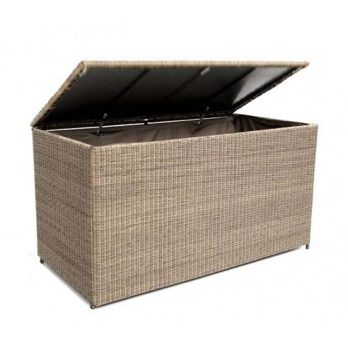 coffre coussins 160 cm en aluminium et r sine tress e. Black Bedroom Furniture Sets. Home Design Ideas