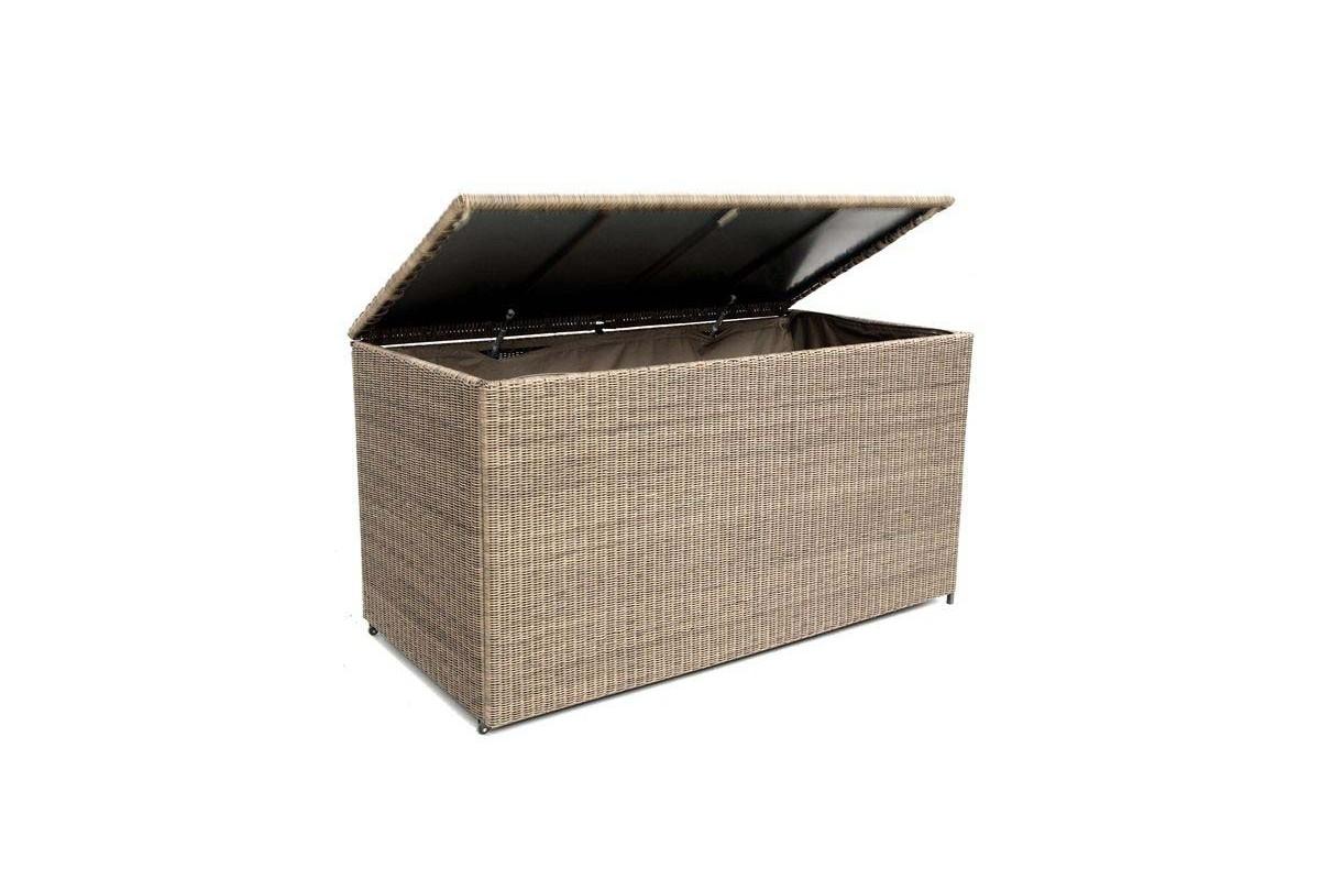 Coffre coussins 160 cm en aluminium et r sine tress e for Salon de jardin resine tressee ronde