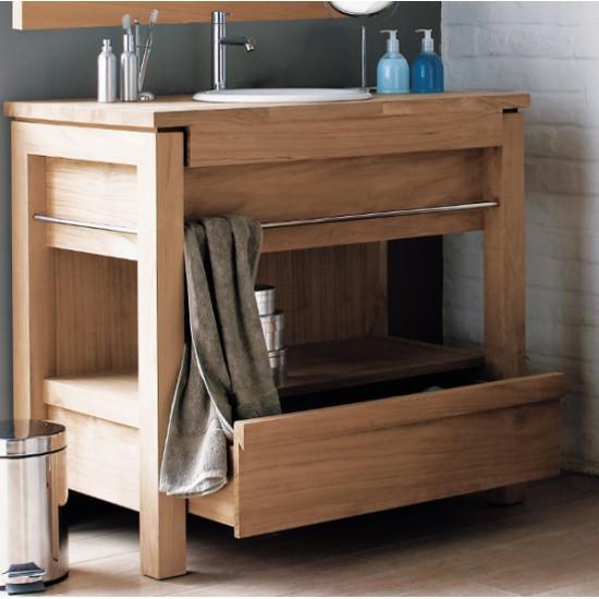 Meuble vasque en teck 65 cm pour une vasque à encastrer - Line Art