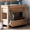 Meuble vasque en teck massif 65 ou 101 cm pour une vasque à encastrer - Line Art