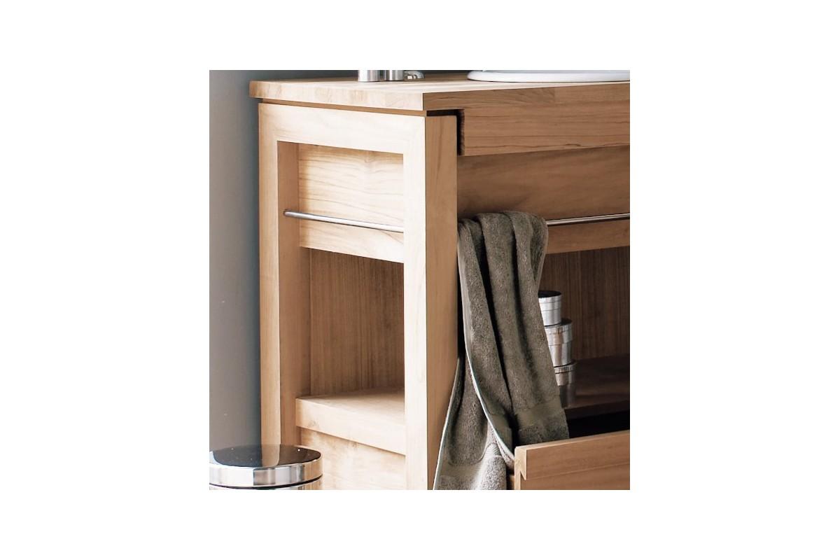 meuble vasque en teck massif 65 cm pour une vasque encastrer line art la galerie du teck. Black Bedroom Furniture Sets. Home Design Ideas