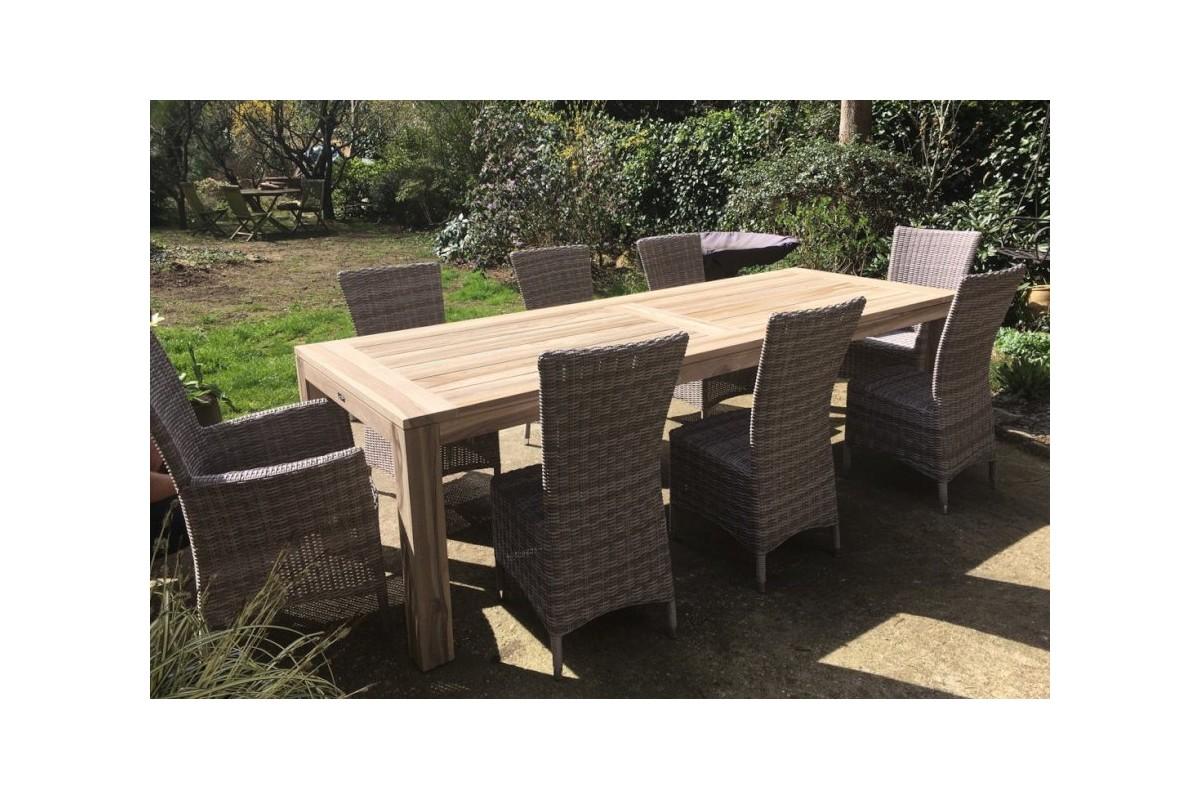 Table de jardin en teck recyclé 220 ou 270 cm gris délavé