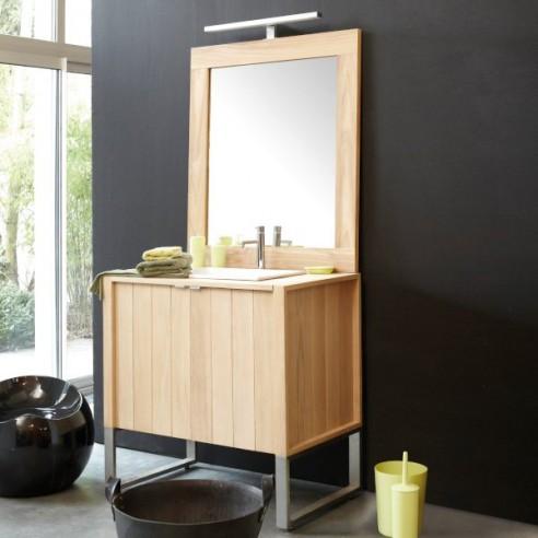 Meuble 1 vasque chêne massif 92 cm, 2 portes, Line Art - Edition