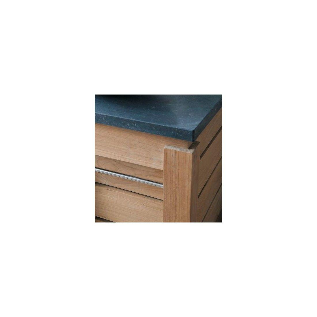 Meuble double vasque en teck massif 133 cm avec 2 portes, Line Art Origin