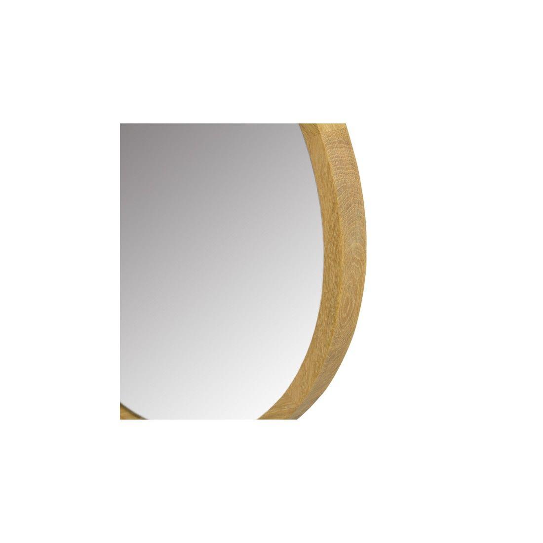 Miroir rond en teck massif, diamètre 50 ou 80 cm