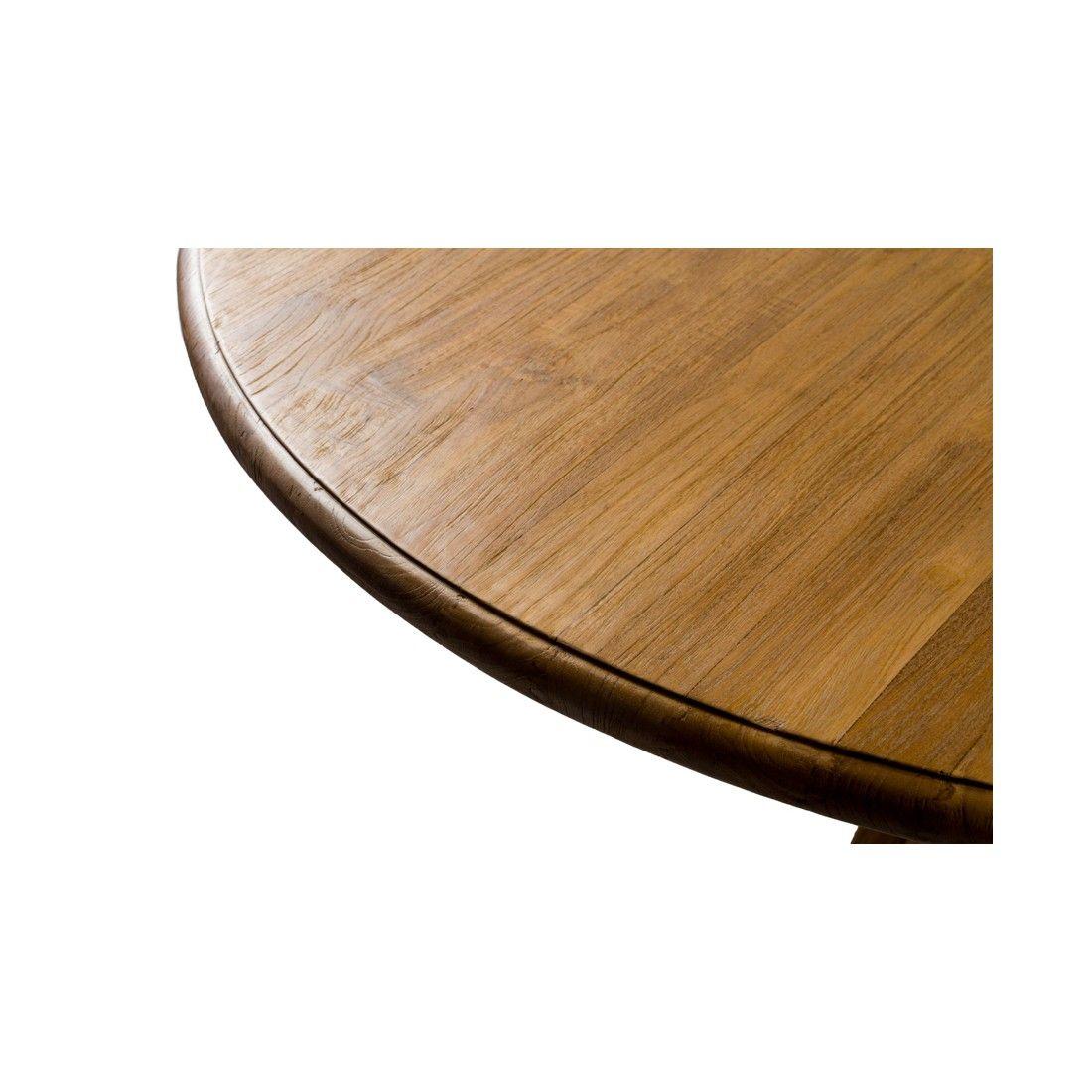 Table ronde en teck ancien d 120 ou 80 cm