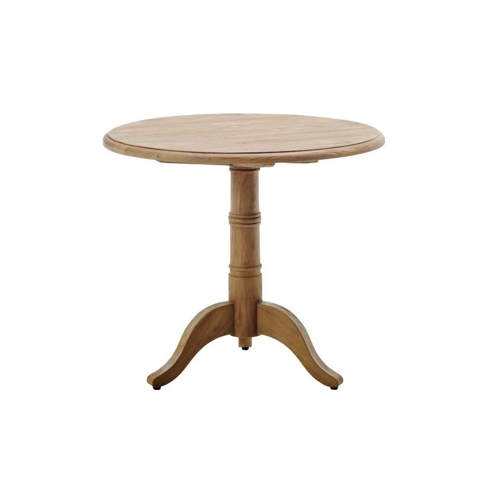 Table ronde en teck ancien d 80 cm