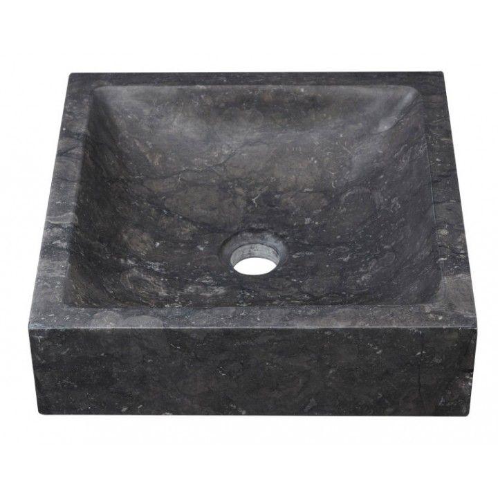 Vasque carrée en Pierre Noire 36,5 cm, modèle Petit Carré