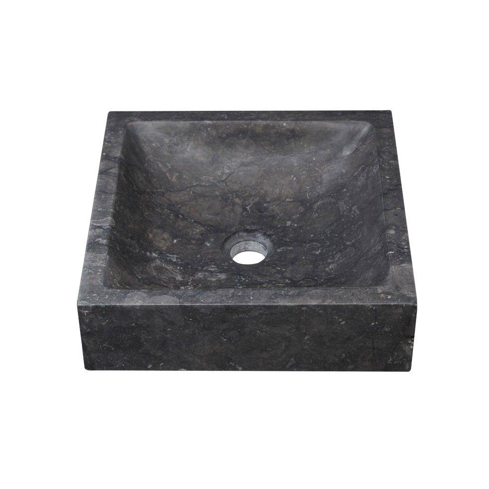 Vasque carrée en pierre noire 36,5 cm, Line Art
