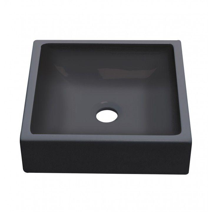 Vasque carrée en céramique noir mat 36,5 cm, modèle Petit Carré