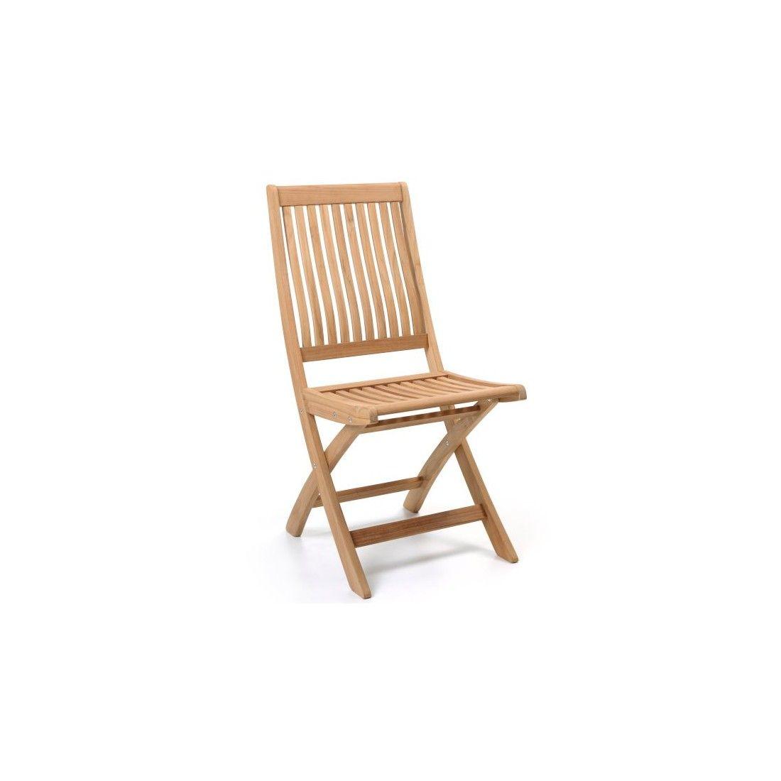 Chaise pliante galbée teck massif, modèle CHES