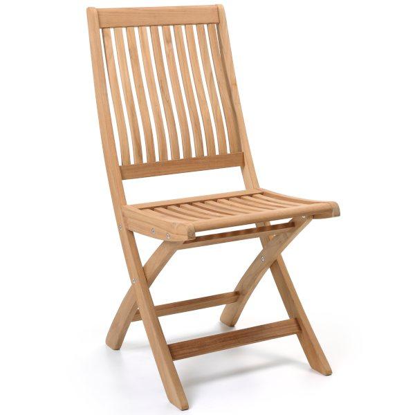 Chaise pliante large en teck massif, Ches