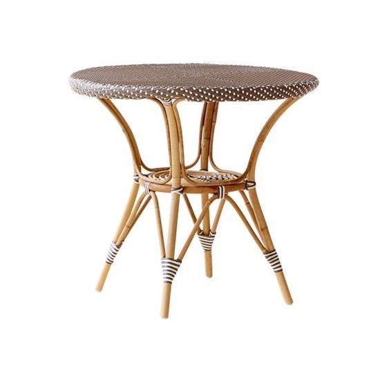 Petite table à café ronde en rotin et résine, d 80 cm
