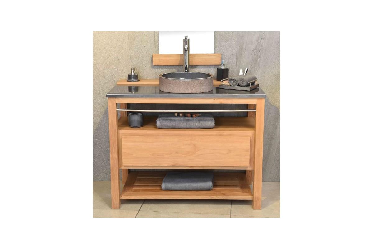 meuble vasque en teck 100 cm avec plan en pierre de lave maill e la galerie du teck. Black Bedroom Furniture Sets. Home Design Ideas