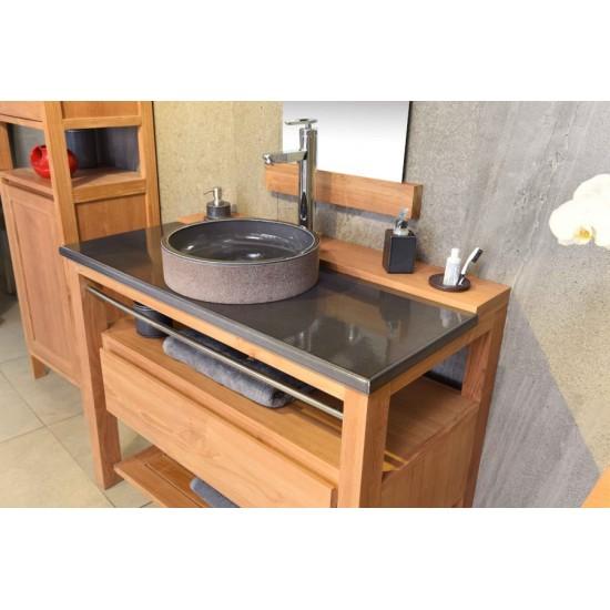 Meuble vasque en teck 100 cm avec plan en pierre de lave émaillée