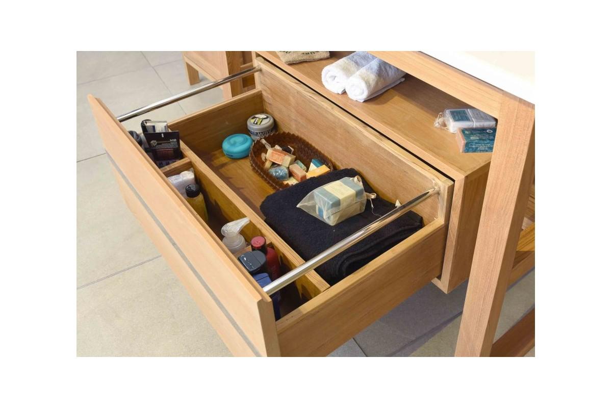 meuble vasque en teck 80 ou 100 cm avec plan en pierre de lave maill e et tiroir la galerie. Black Bedroom Furniture Sets. Home Design Ideas